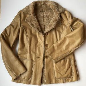 Genuine Leather Guess Button Up Long Camel Jacket
